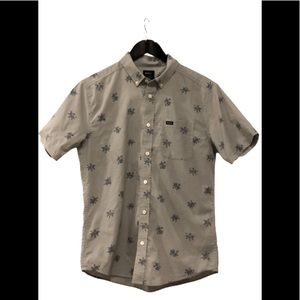 RVCA grey with navy floral design button down top